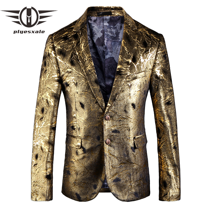 Plyesxale Gold Blazer For Men 2018 Slim Fit Mens Floral Print Blazer Jacket 5XL British Style