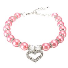 KIMHOME PET Fashion Pet Coller Puppy Dog Cat Pearl Necklace Pet Accessories Love Diamond Pets Dogs Cats Collar & Ldads Jewelry