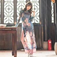 blue Vietnam ao dai Chinese traditional dress chinese dress qipao long Chinese cheongsam dress robe chinoise modern cheongsam