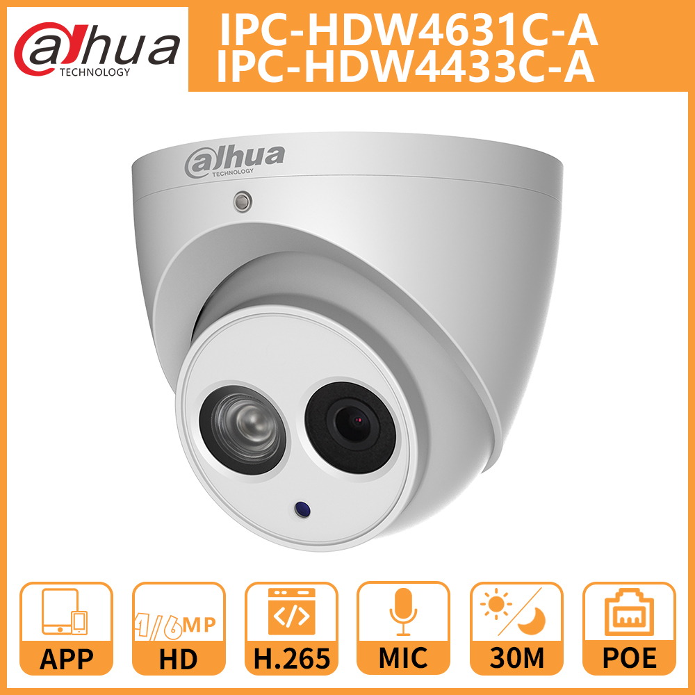 DH IP Camera IPC HDW4631C A IPC HDW4433C A Dome CCTV Camera Built in Mic Network