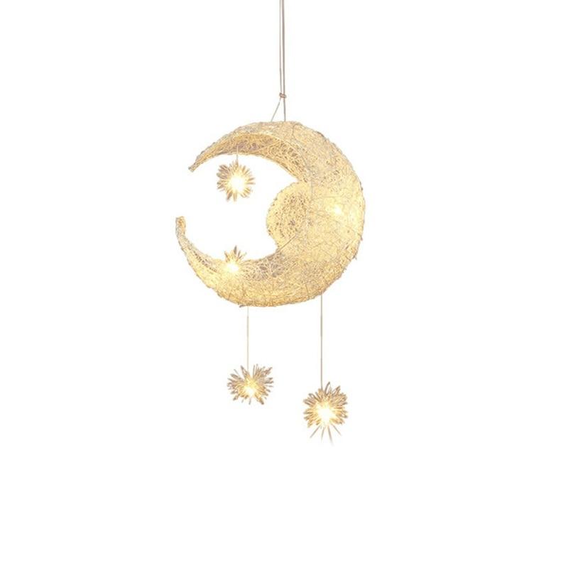 Handmade Modern Aluminum Moon Star Pendant light Lamp for Kid Children Room Bedroom Lustres Decorative Fixture Lighting PLL-625 kid s room lighting modern fashion moon