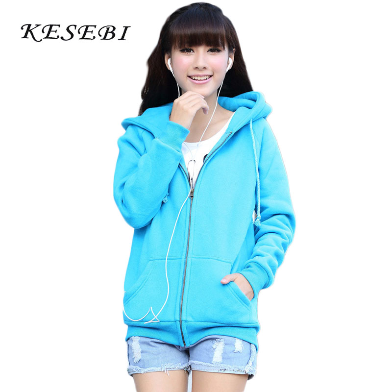 Kesebi 2017 Autumn Winter Female Zipper Sweatshirts Women Thick Warm Solid Color Hooded Long Sleeve Fleece
