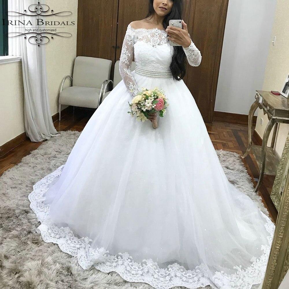 robe de mariee courte off shoulder long sleeve lace applique pearls belt wedding dress in