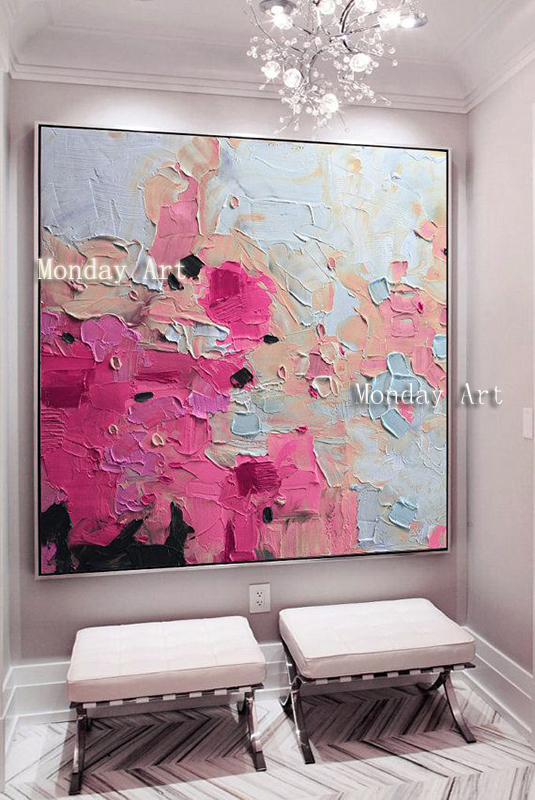 large abstract oil painting on canvas Handmade ModernTextured colorful landscape hotel decor