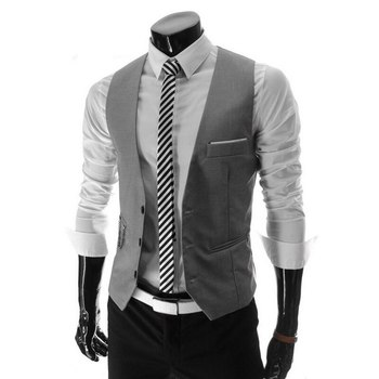 2018 Hot Men Formal Dress Suit Vests Slim Fit Men Suit Vest Male Wedding Party Waistcoat Homme Casual Sleeveless Business Jacket 1