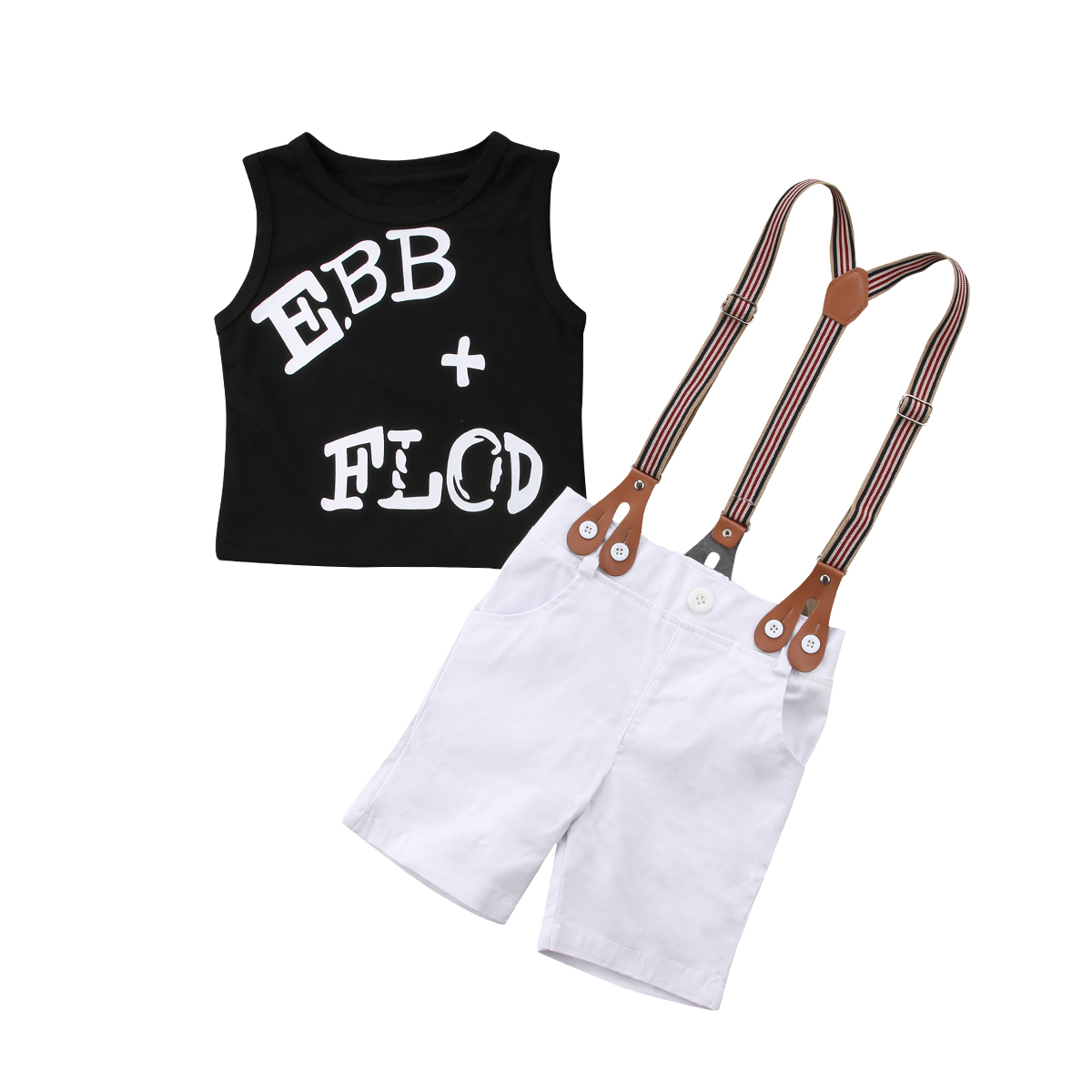Pudcoco 2pcs Toddler Baby Boys Clothes Set Black Vest Tops +pants Overalls outfits Newborn Infant Baby Boys Summer Clothes ...