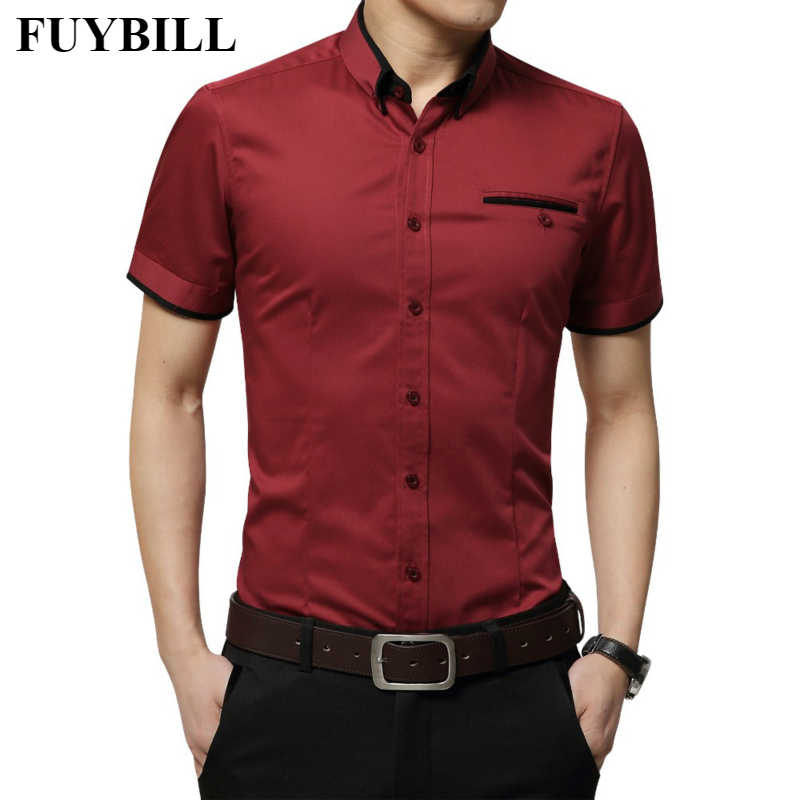 Fuy Bill 2018 New Arrival Men's Summer Business Shirt Short Sleeves Turn-down Collar Tuxedo Shirt Shirt Men Shirts Big Size 5XL