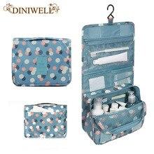 Diniwell unisex azul de impresión transparente bolso cosmético del almacenaje del recorrido del artículo de tocador llevar artículos de tocador baño organizador para viajar