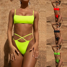 Leopard Snake Print Bikini Set Cross straps Swimsuit Lemon Yellow solid biquini maillot de bain Polyster Dropshipping Swimwear