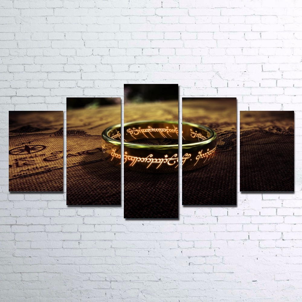 Modular Poster HD Printed Canvas Painting Art 5 Pieces Canvas Art Artwork The Lord of The Rings Magic Ring Unframed