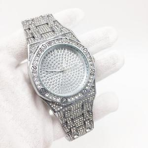 Image 5 - DropShipping חדש 2020 בלינג יהלומי שעון גברים אייס מתוך יוקרה Mens קוורץ שעונים איש שעוני יד כסף פלדת Relogio Masculino