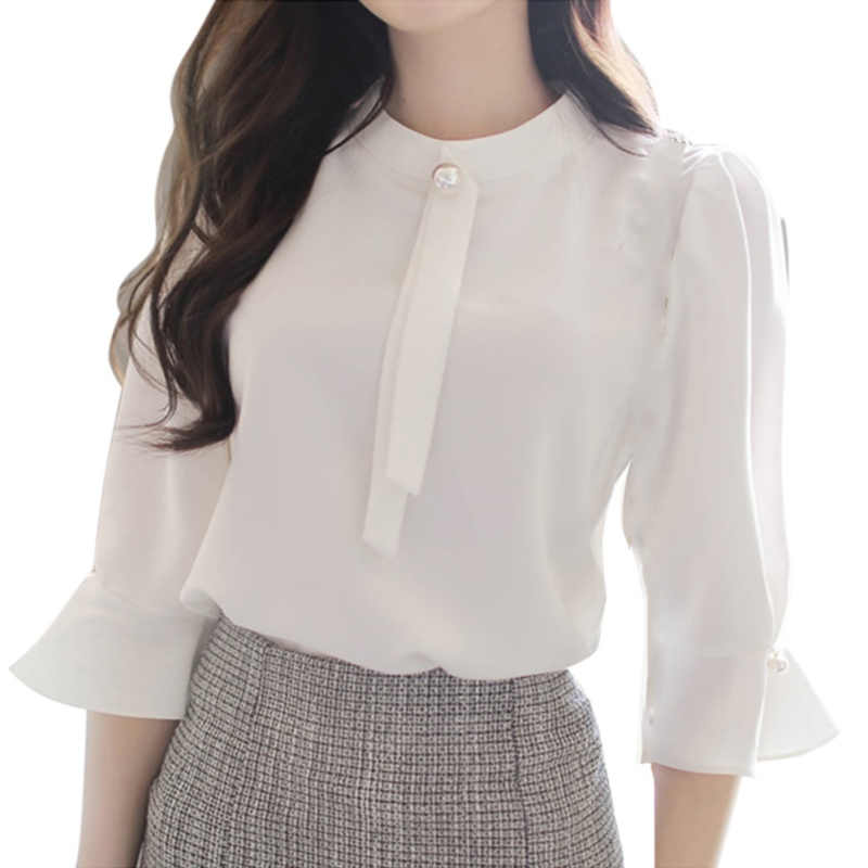 Women Chiffon Blouses 3/4 Sleeve Stand Collar Shirts Summer Office Puff Flare Sleeve Ladies Formal Work Wear Clothes Tops S-2XL