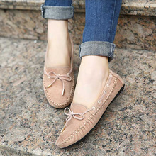 Top Sale Elegant Women Flat Shoes Fashion Summer Spring Bowtie Loafers Ladies Suede Slip On Lady Ballet Shoes Soft moccasins