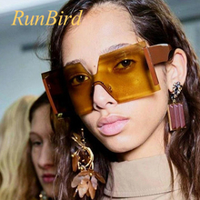 Sexy Rimless Oversized Sunglasses Women Vintage 2018 Red Luxury Brand Sun Glasses For Female Rivet Big Frame Male Shades 1320R