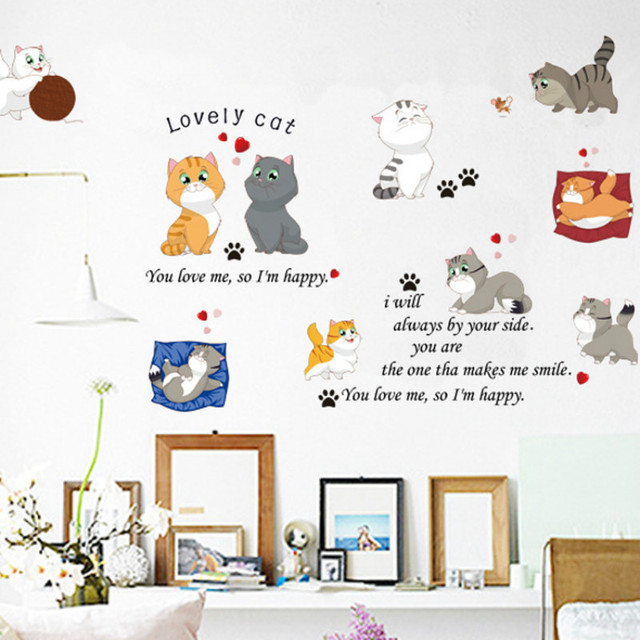 diy cartoon cat wall stickers children 's room living room stickers
