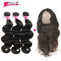 7A Brazilian Vrigin Hair Body Wave with Frontal Closure 360 Lace Frontal Closure with Bundles Human Hair Weave Fast Shipping