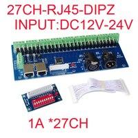 Bán buôn 1 cái DMX-27CH-RJ45-DIPZ led dimmer DMX512 XRL 3 P DC12V-1A * 27CH led decoder, điều khiển đối với RGB led strip lights