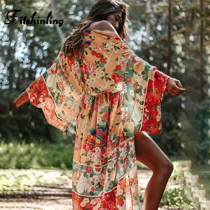 Fitshinling Vintage Print Floral Beach Cover Up Summer Swimwear Bikini Outerwear Flare Sleeve Oversize Bohemian Long Cardigans