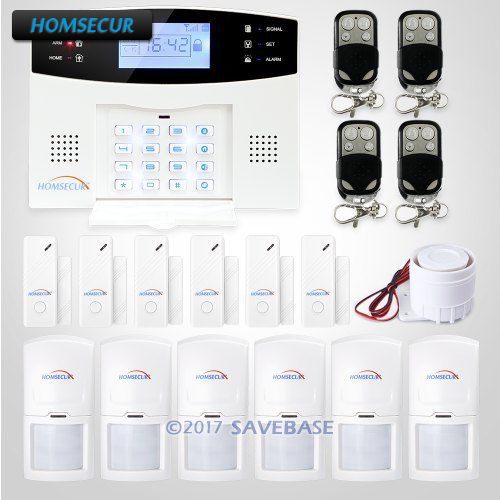 HOMSECUR Wireless&wired GSM SMS Home Security Alarm System +6 PIR Sensor+Siren