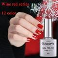 Hot Sale 12Colors Wine Red Series UV Gel Nail Polish SoakOff Gel Lucky UV Nail Varnish 1Pcs 8ml Gel Lacquer