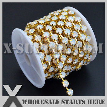 White Opal SS28 Crystal Rhinestone Cup Chain For Jewelry,Garment,Bag,Shoe Decorations
