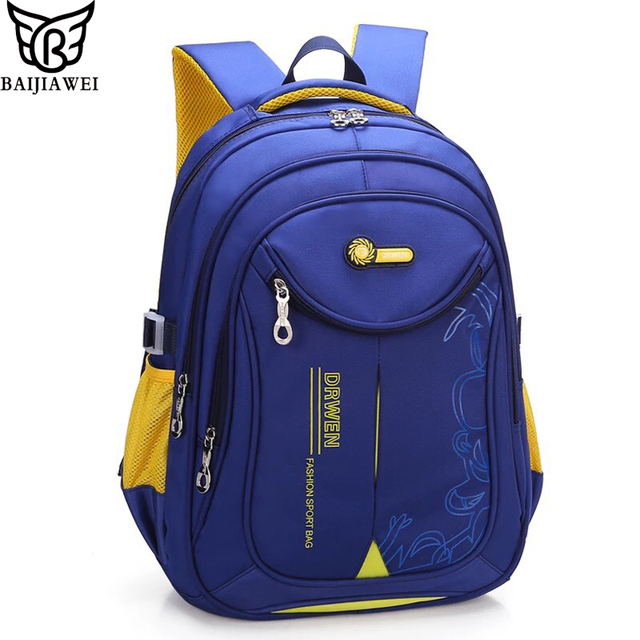 ac3ec067df29 BAIJIAWEI 2019 New Children School Bag Primary School Kids Backpack Nylon  Waterproof Backpacks Large-capacity School Bag mochila