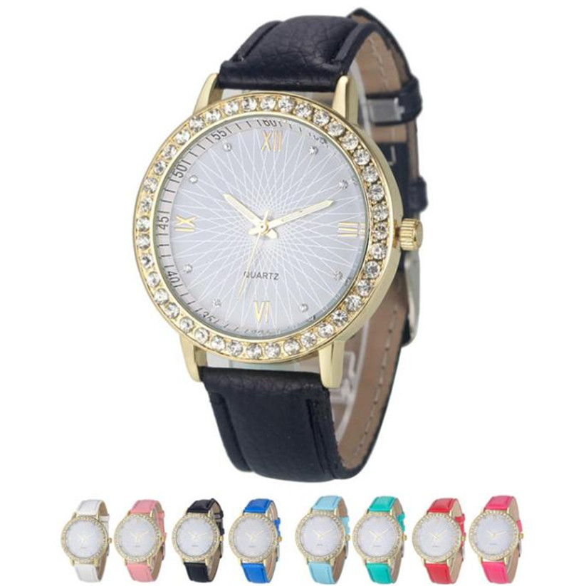 Gyémánt órák női kerek tok PU bőr analóg kvarc karórák luxus - Női órák