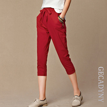 Summer Pants Women High Quality Solid Cotton Linen Pants Casual Elastic Waist Slim Trousers Capris Women Pantalon Femme S-4XL