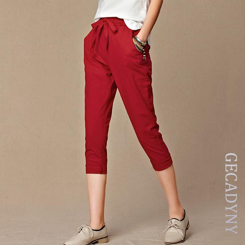 Summer   Pants   Women High Quality Solid Cotton Linen   Pants   Casual Elastic Waist Slim Trousers   Capris   Women Pantalon Femme S-4XL
