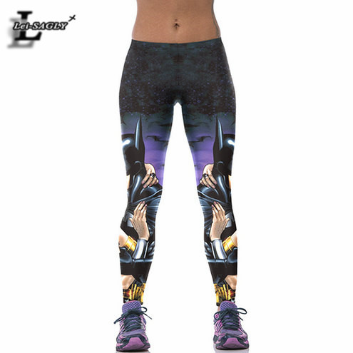 The Batman Kiss Wonder Woman Printed Gothic Leggings Casual Fitness Youth Pants Women Seamless Breathable Capris F1644