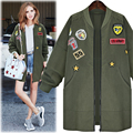 European American Army Green Long trench coat for women plus size 5xl cardigan embroidery Patchwork Baseball windbreaker