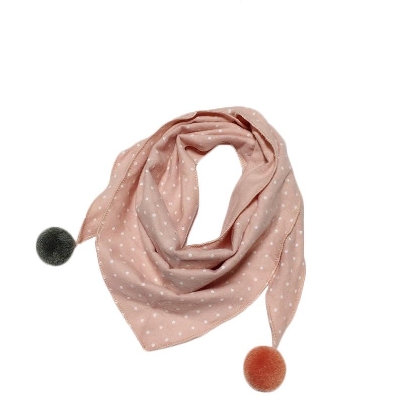 Весенние клетчатые треугольные шарфы в горошек для маленьких девочек; осенне-зимняя шаль для мальчиков и девочек; Детские хлопковые воротники; теплый детский шейный платок - Цвет: pink dot