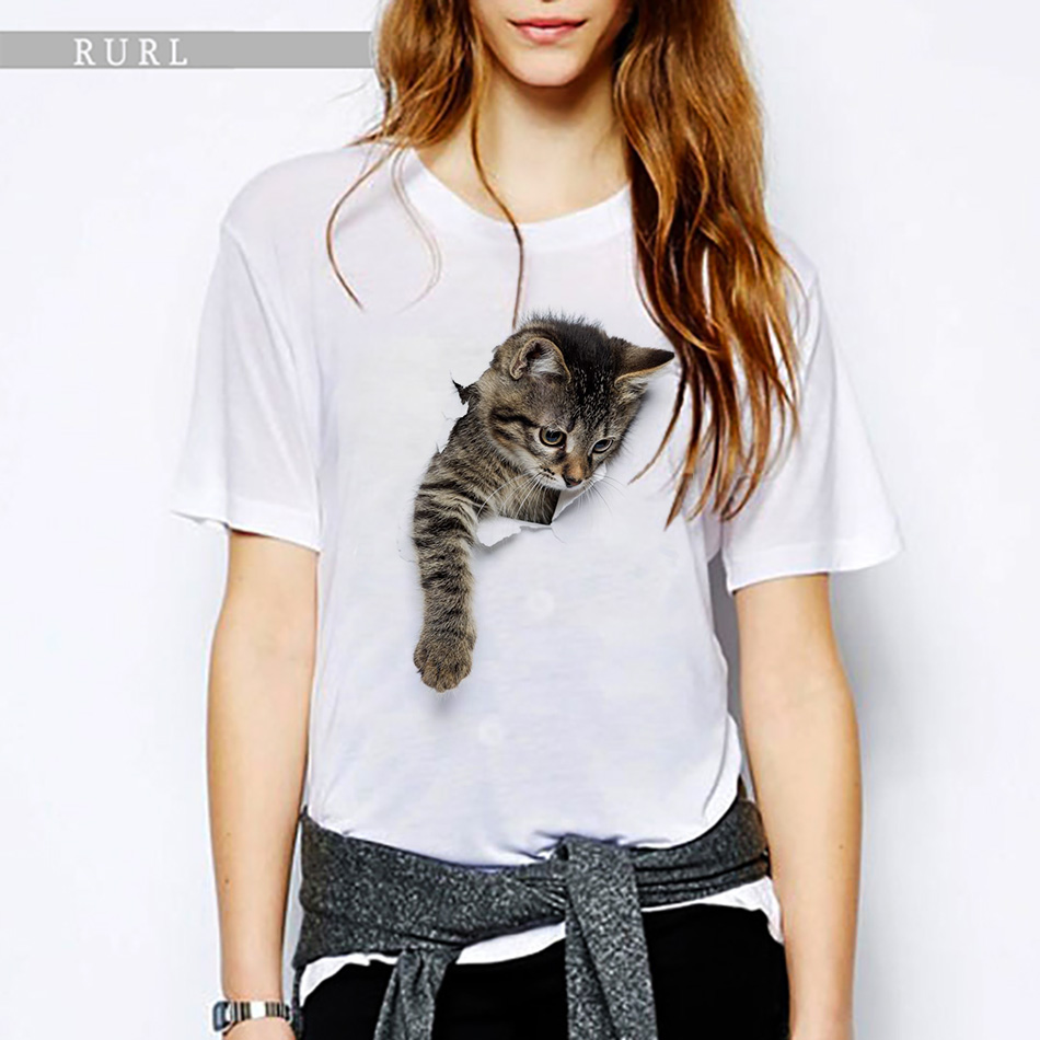 RURL 2018 Most Nuovo Donne T Shirt 3D Cute Cat Stampato Top Manica Corta Slim Lady T-Shirt Divertente Animale Tee