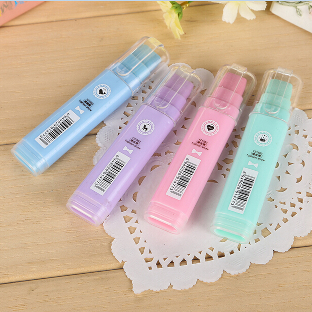 Korean School Eraser Stationery Creative Bullet Lipstick Writing Sketching Rubber For Pencil Eraser For Kids Office Supplies