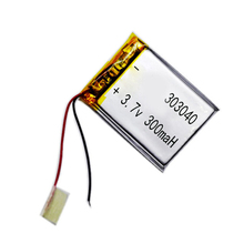 303040 lithium polymer battery Rechargeable Li-ion Battery 3.7V 300 mAh for bluetooth mp3 reader 303040 lipo rc battery