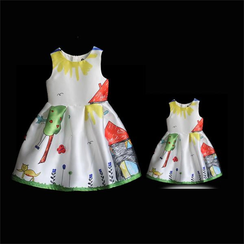 Family look clothing white graffiti prints European sleeveless dress women girls long pleated skirts mother daughter sundresses
