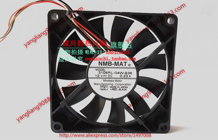 NMB-MAT 3106RL-04W-S36, C51 DC 12V 0.23A, 80x80x15mm Server Square fan nmb mat 5915pc 12t b30 a00 dc 115v 35a 2 piece 150x172x38mm server round fan