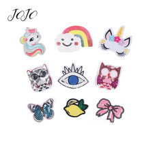 JOJO BOWS Sparkly Sequin Patch Unicorn Bow Rainbow Eye Owl Accessory For Needlework DIY Hair Craft Supplies Wedding Decor