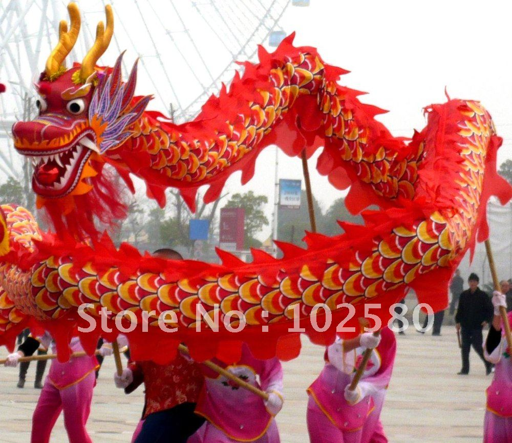 1ed9778db 18 meter cloth red color brand new dragon dance mascot costume china  special culture holiday party