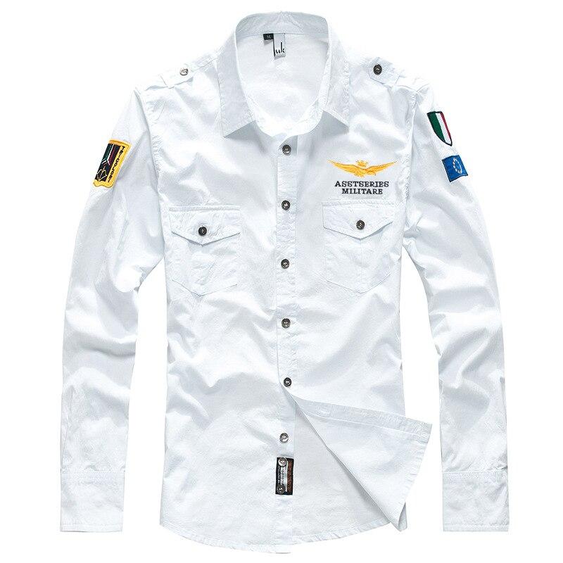 2019 Men Shirt Men Long Sleeve Casual Embroidery Pilot Flight Shirt Air Force Army Fashion Army Military Style Shirts TJWLKJ