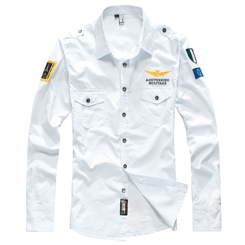 Man's Shirt Men's Long Sleeve Shirt Casual Embroidery Pilot Shirt Air Force One Military White Shirt Mens Clothing