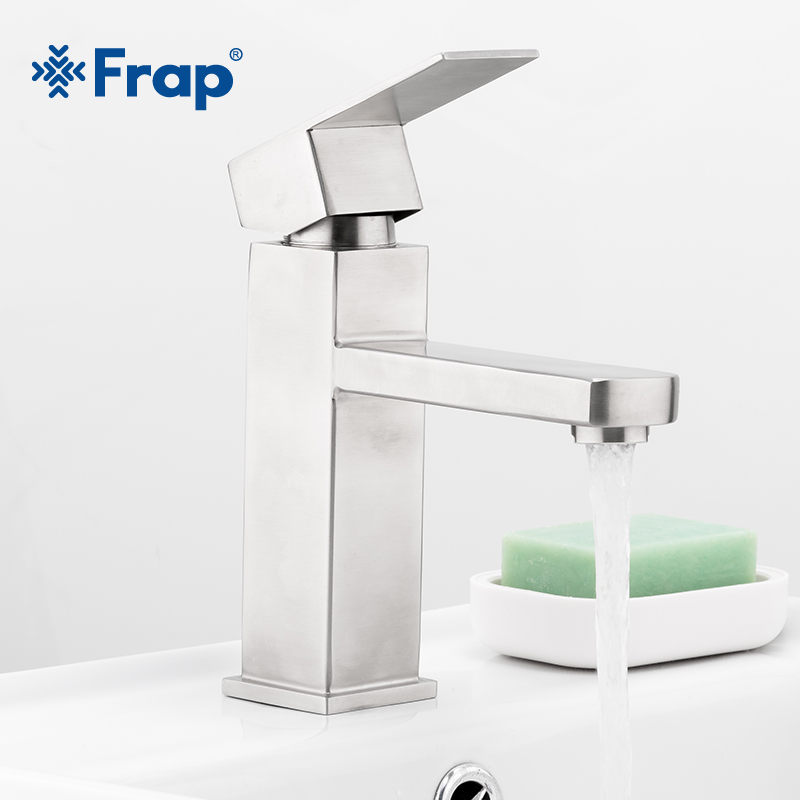 Frap Deck Mount Brushed Bathroom Basin Faucet Shower Bath Faucets Stainless Steel Square Sinks Mixer Tap Single Handle Y10171Frap Deck Mount Brushed Bathroom Basin Faucet Shower Bath Faucets Stainless Steel Square Sinks Mixer Tap Single Handle Y10171