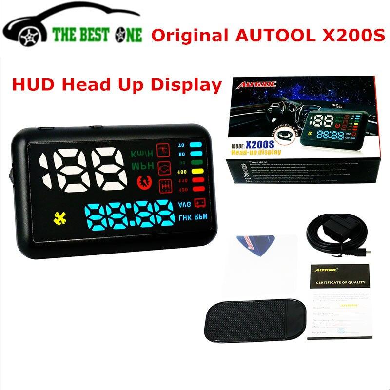 Цена за Новые autool X200S Универсальный Автомобильный HUD Дисплей миль/ч км/ч температуры двигателя над скоростью сигнализация OBD2 интерфейс Спидометр