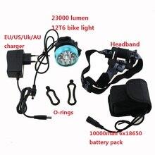 Lumière de bicyclette Phare 23000 Lumens 12x Cree XM-L T6 LED cyclisme Vélo Lampe Frontale + 18650 10000 mah Batterie + chargeur