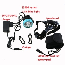 Cycling Road Bike Light 23000LM 12x Cree XML T6 Led Bicyle Flashlight Headlamp Waterproof Mountain Lamp With 18650 Battery Pack