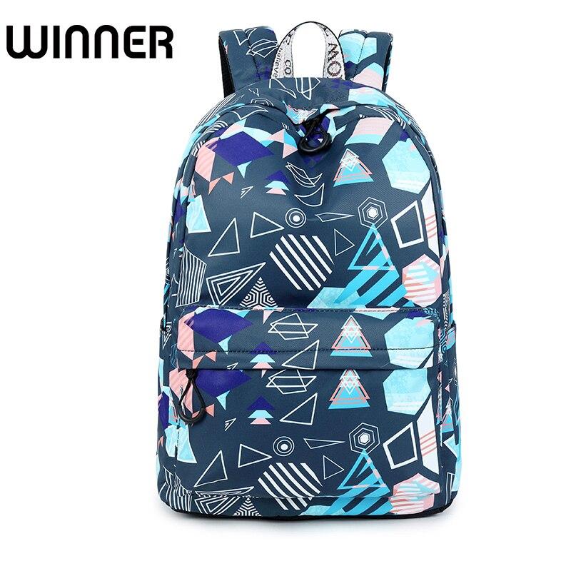 Personality Waterproof Women Backpack Geometric Pattern Printing Daily Travel Laptop Lady Rucksack geometric pattern open front cardigan