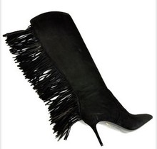Black Knee High Boots For Women Tassels Thin High Stiletto Heel Shoes For Women Ladies Leather Boots Fashion 2015 Pointed Toes