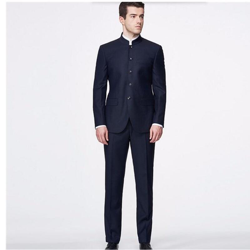 US $89.18 9% di SCONTO Su misura Abiti Da Uomo classico Giacca Collo Alla Coreana di Modo di Eleganza Abiti Su Misura Made Vestiti Interi Eleganti