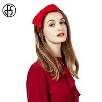 FS Elegant Hats For Women Ladies Fancy Hats Pillbox Red Wedding And Fascinators Cap Girls Fashion Bowknot Headband Tea Party Hat