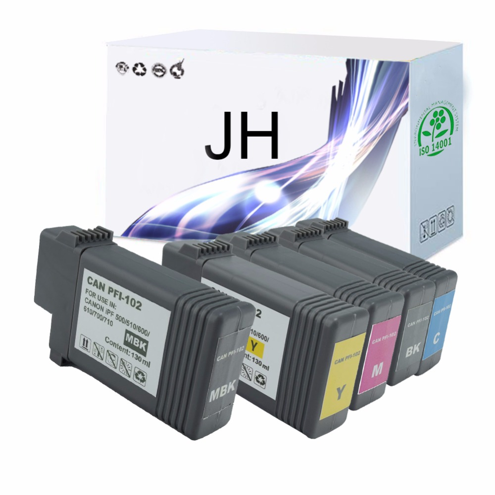 JH PFI-102 refillable ink cartridges for Canon IPF605/650/655/750/755 cartridge without chip 130ml 5 color